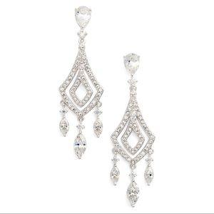 Gorgeous Nadri Silver Chrystal Chandelier Earrings